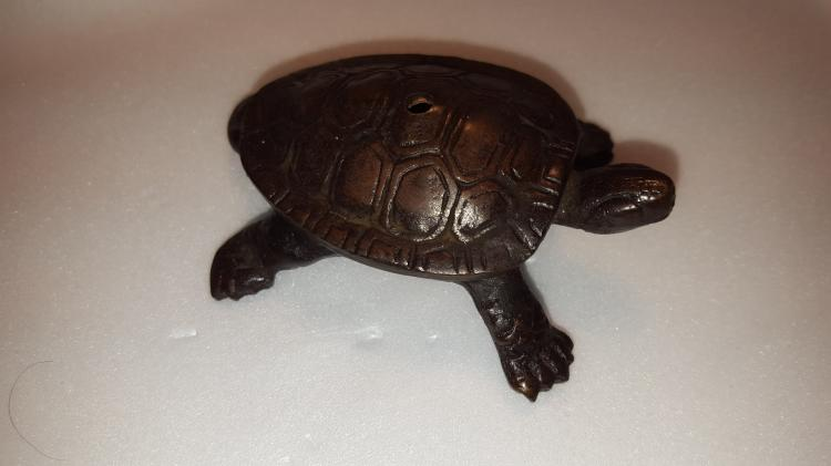 Mid 19th Century Bronze Signed Turtle Water Dropper