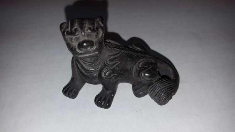 Chinese Bronze Model of a Foo Dog Scroll Weight