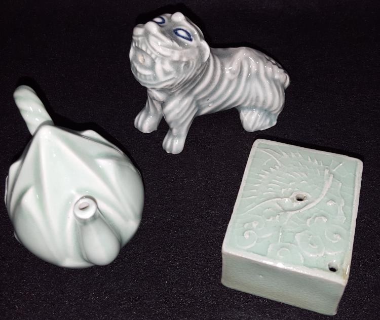 3 Figural Korean Celadon Water Droppers