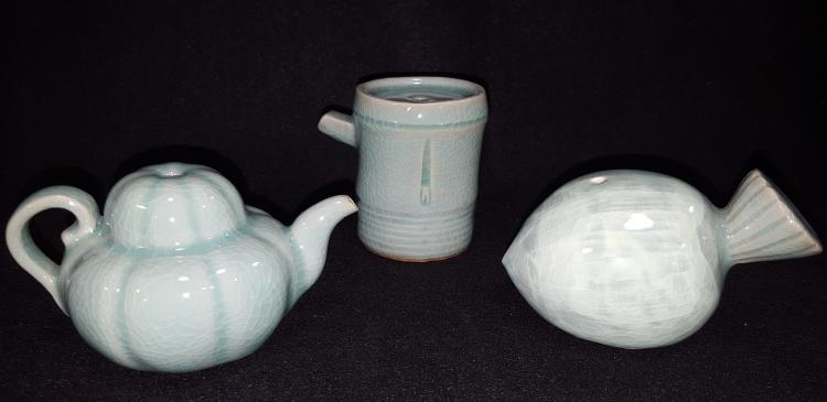 Lot of 3 Signed Celadon Glaze Korean Water Droppers