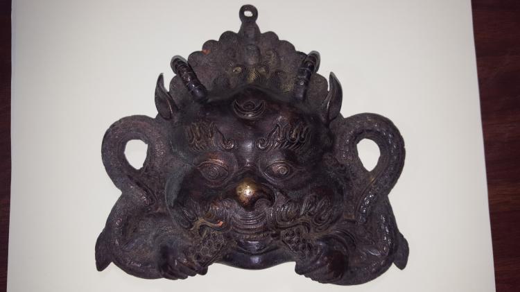 Temple Bronze Tibet Deity Mahakal Mask/Pendant