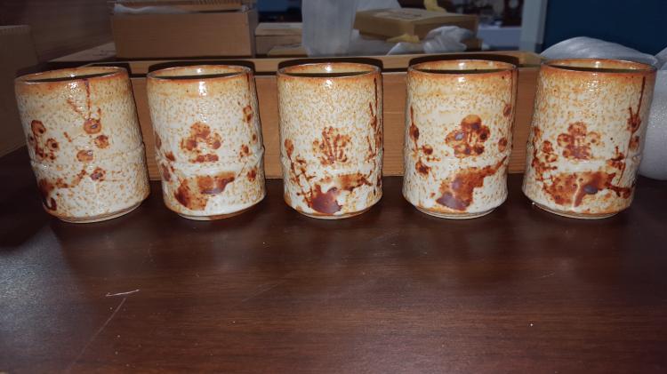 Set of 5 Japanese Studio Art Pottery Tea Cups