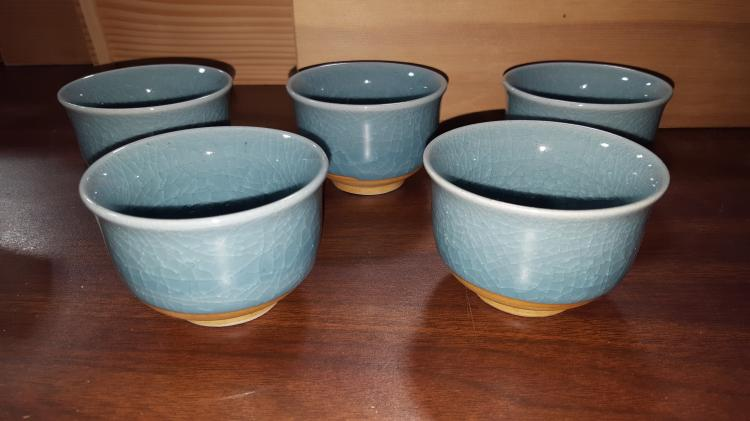 Set of 5 Japanese Studio Art Pottery Tea Cups
