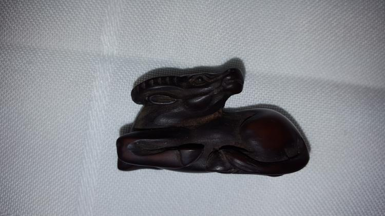 Japanese Wood Netsuke Bird & Ox