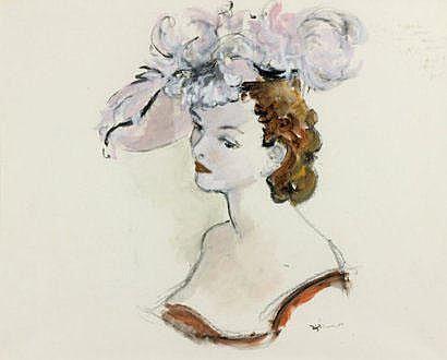 André DIGNIMONT (1891-1965) Élégante au chapeau