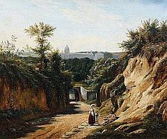 André GIROUX (1801-1879) Vue de Saint-Pierre de