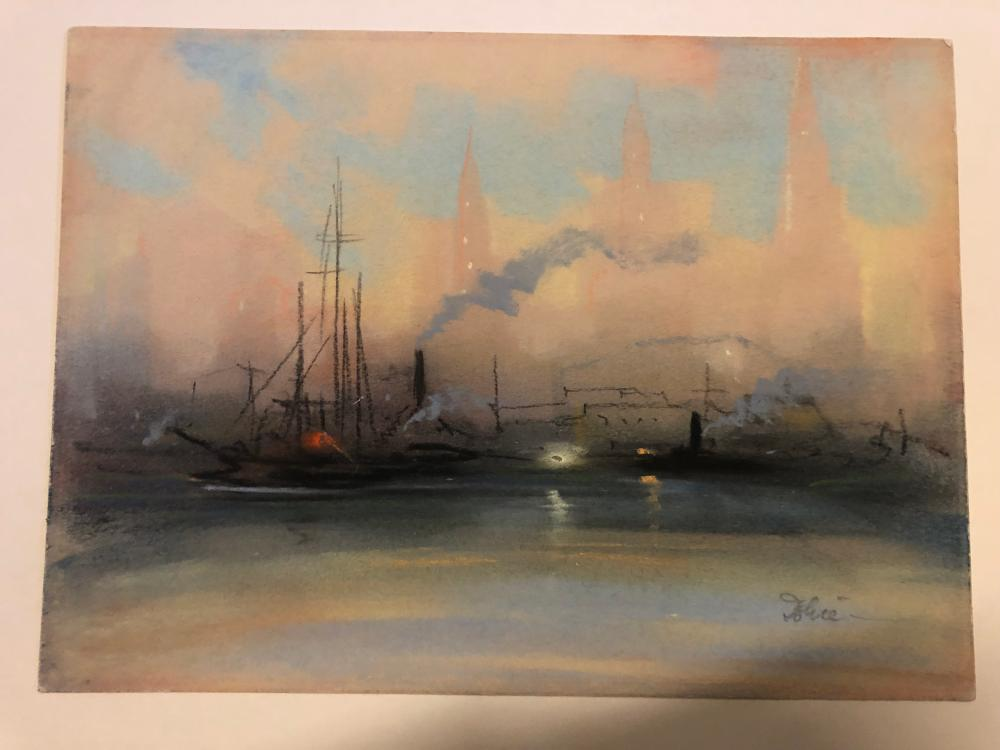 Leon Dolice  ~ South Street Seaport NYC Pastel on paper