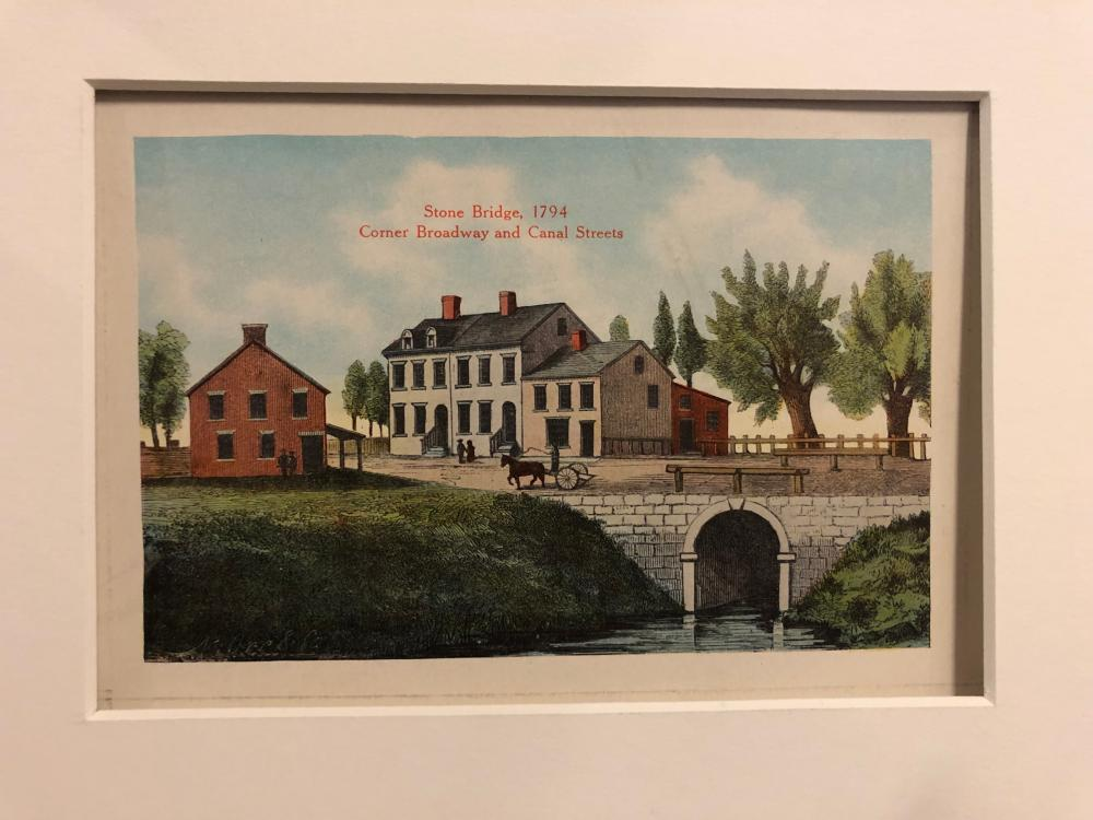 Broadway and Canal Street NYC 1794 litho Stone Bridge