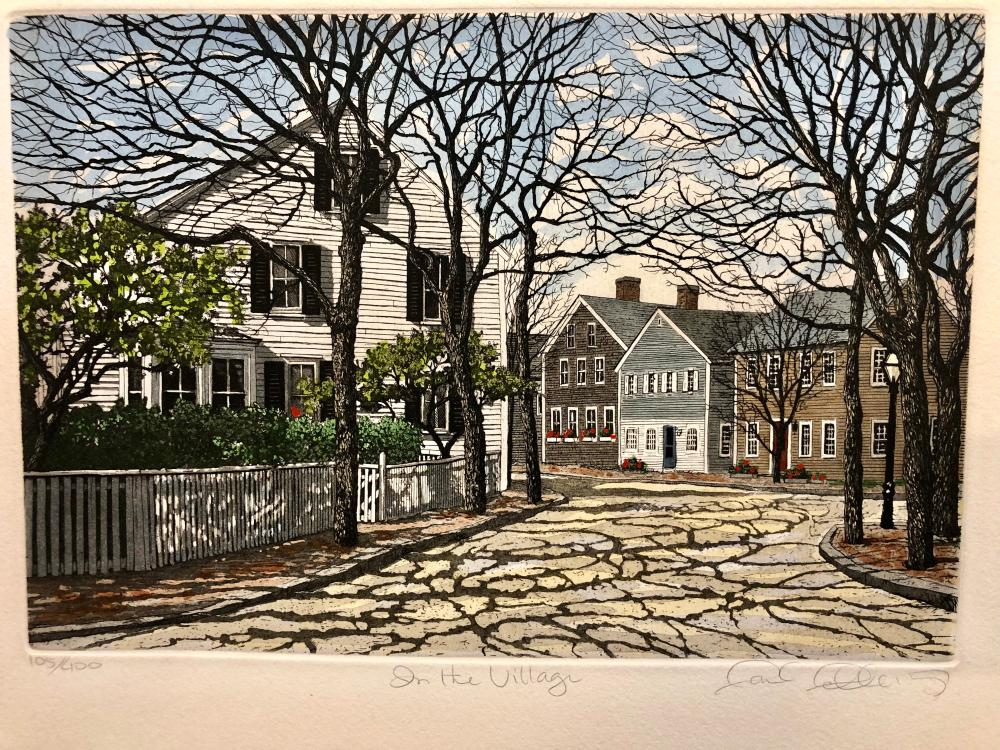 """In the Village"" by Carol Collette etching hand colored"