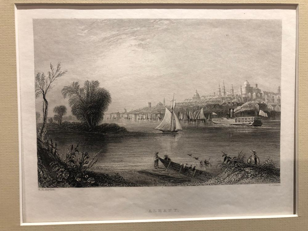 "Bartlett engraving ""Albany"" b/w view from the gowanus Original"