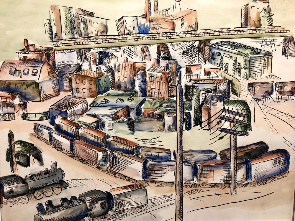 Outstanding City scene with trains ~ Mid Century  pen & ink with wash