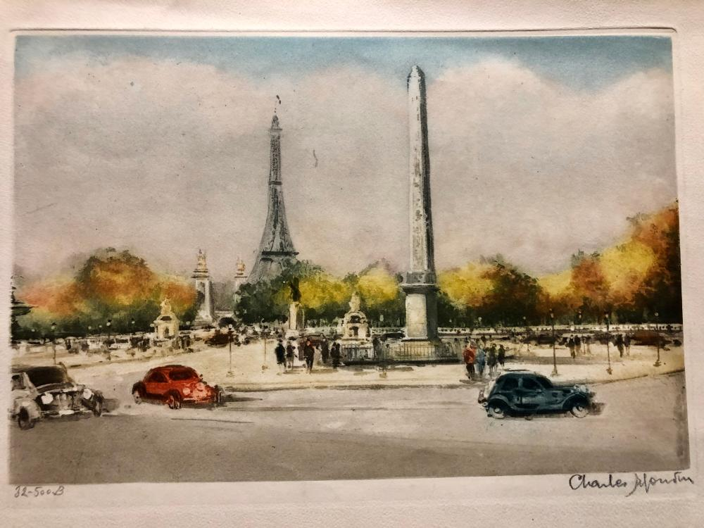 Eiffel Tower, hand-tinted aquatint Mid Century