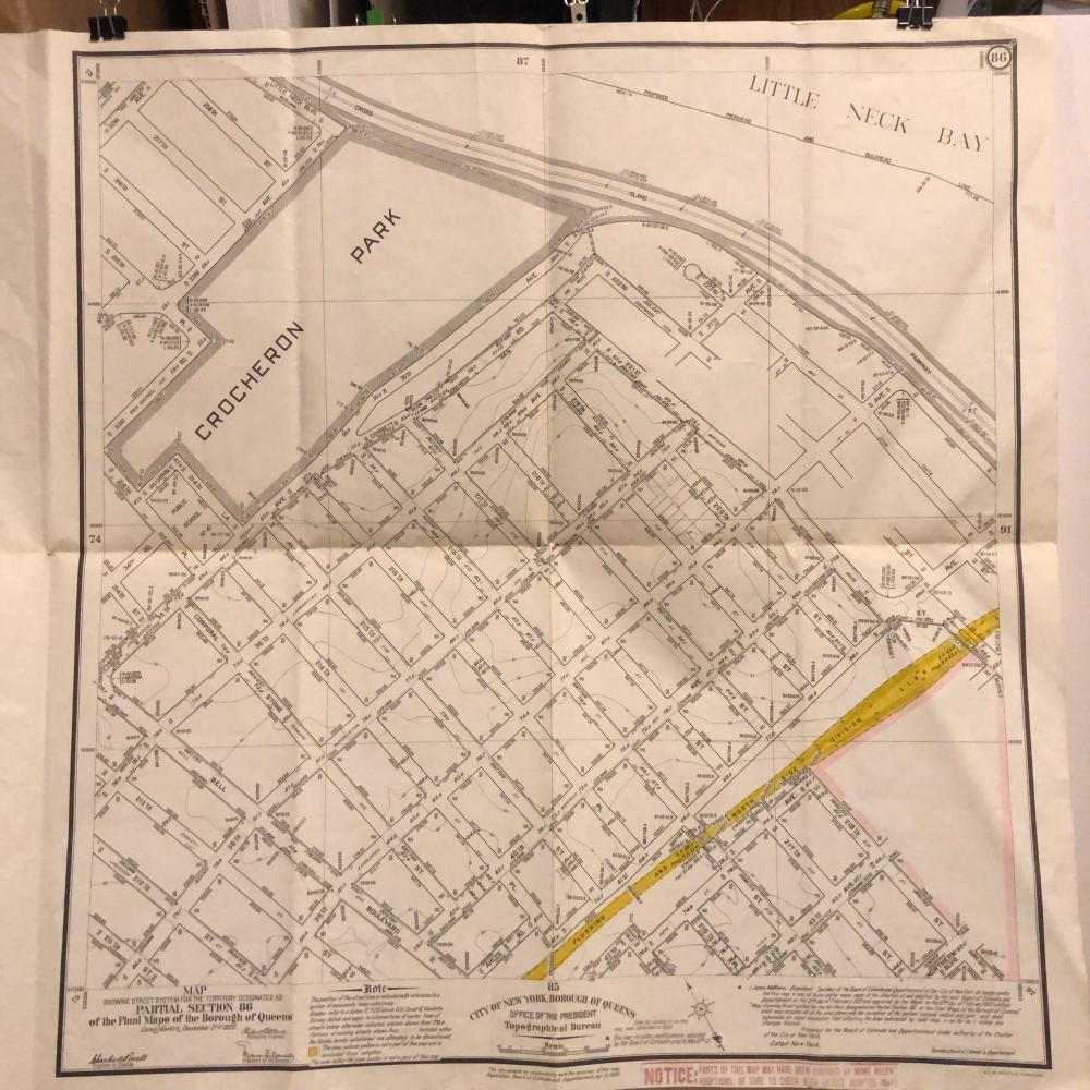 Queens Street System  Map 1935 Section 86 Crocheron Park
