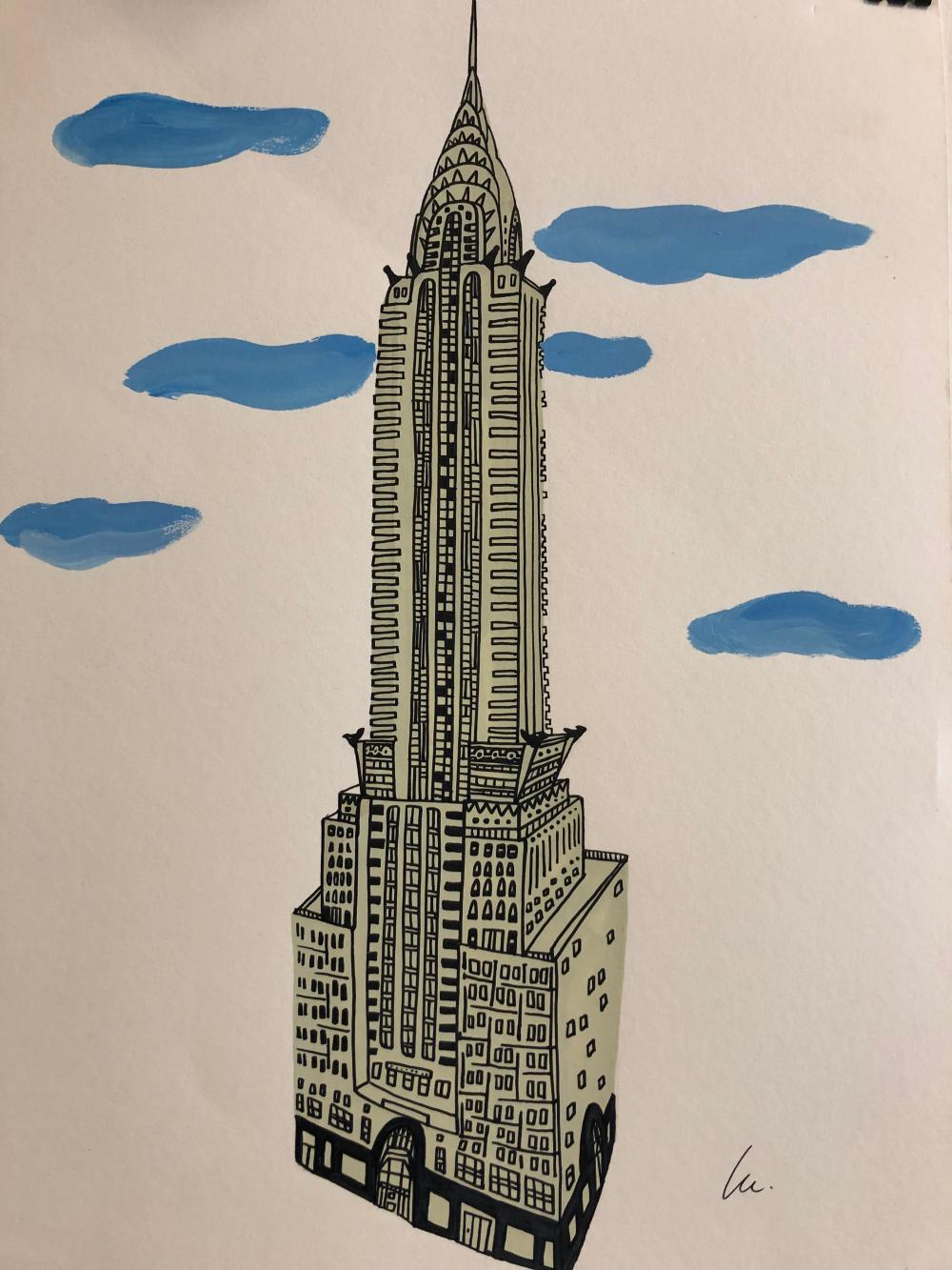 Lulu Chrysler Building ~ original Illustration ~gouache on paper