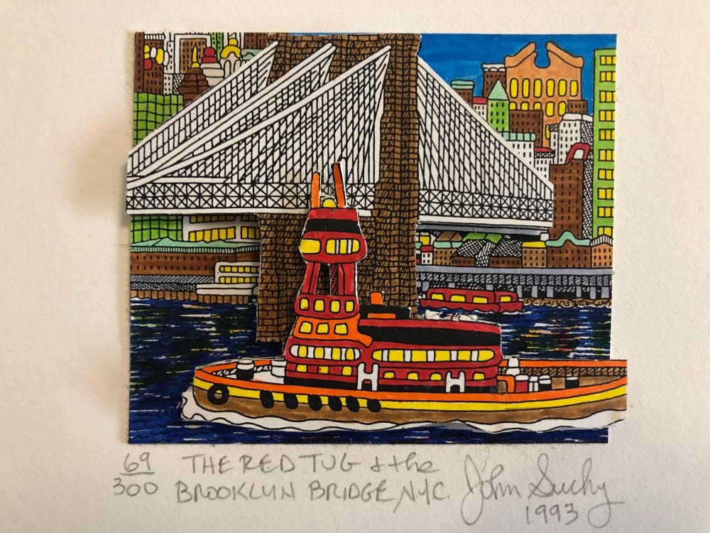 John Suchy (1993) Red Tug Boat and Brooklyn Bridge 2D s/n