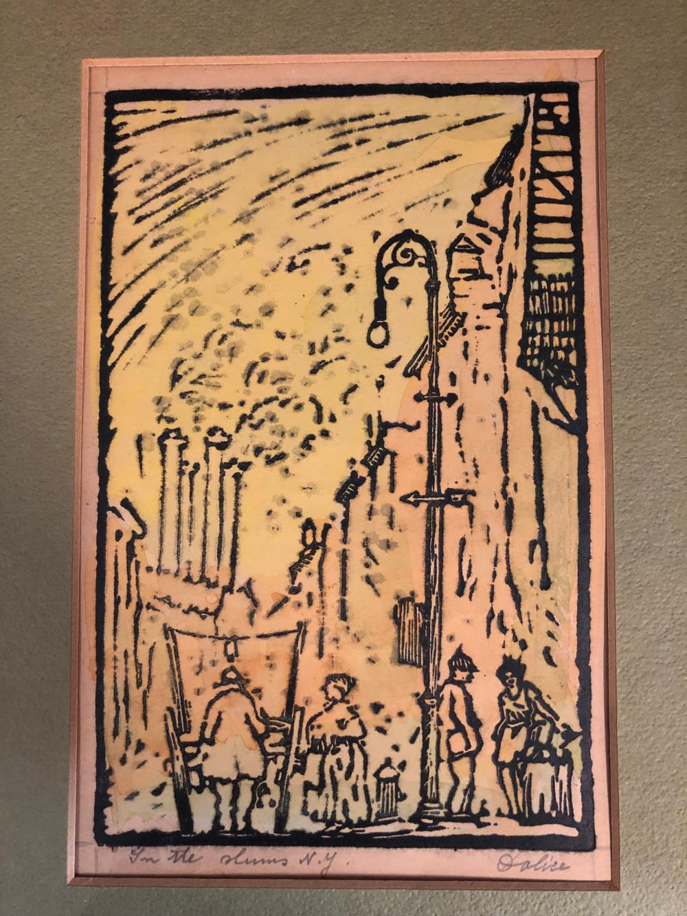 "RARE one of a kind~ Leon Louis Dolice woodcut ""In the Slums of NY"" signed"