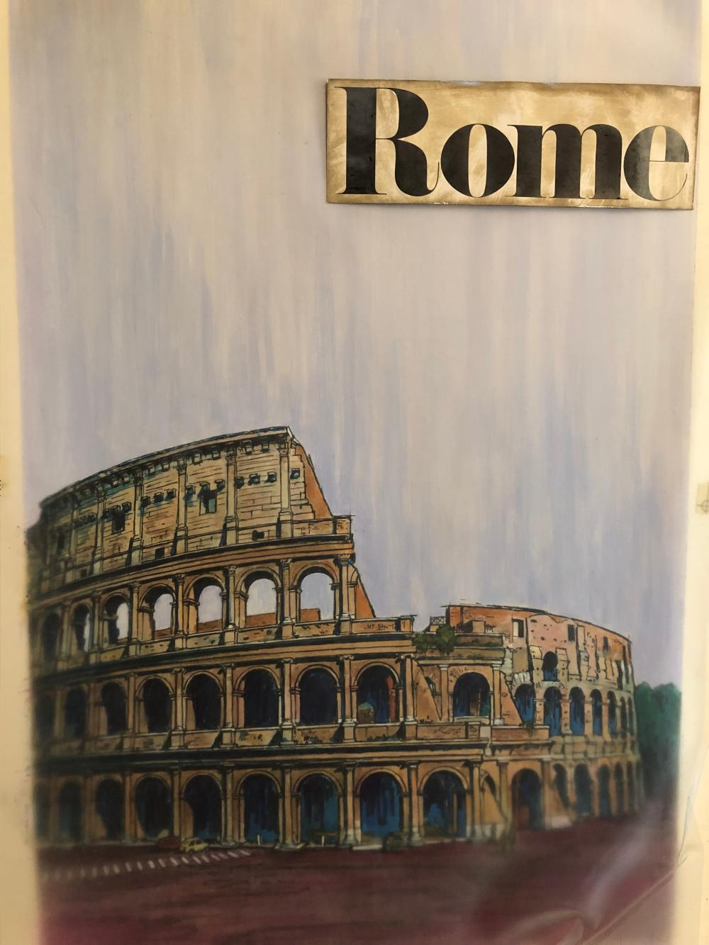 Harry Kane Rome Illustration~  Original Painting with overlay, done for Ronzoni 1960s