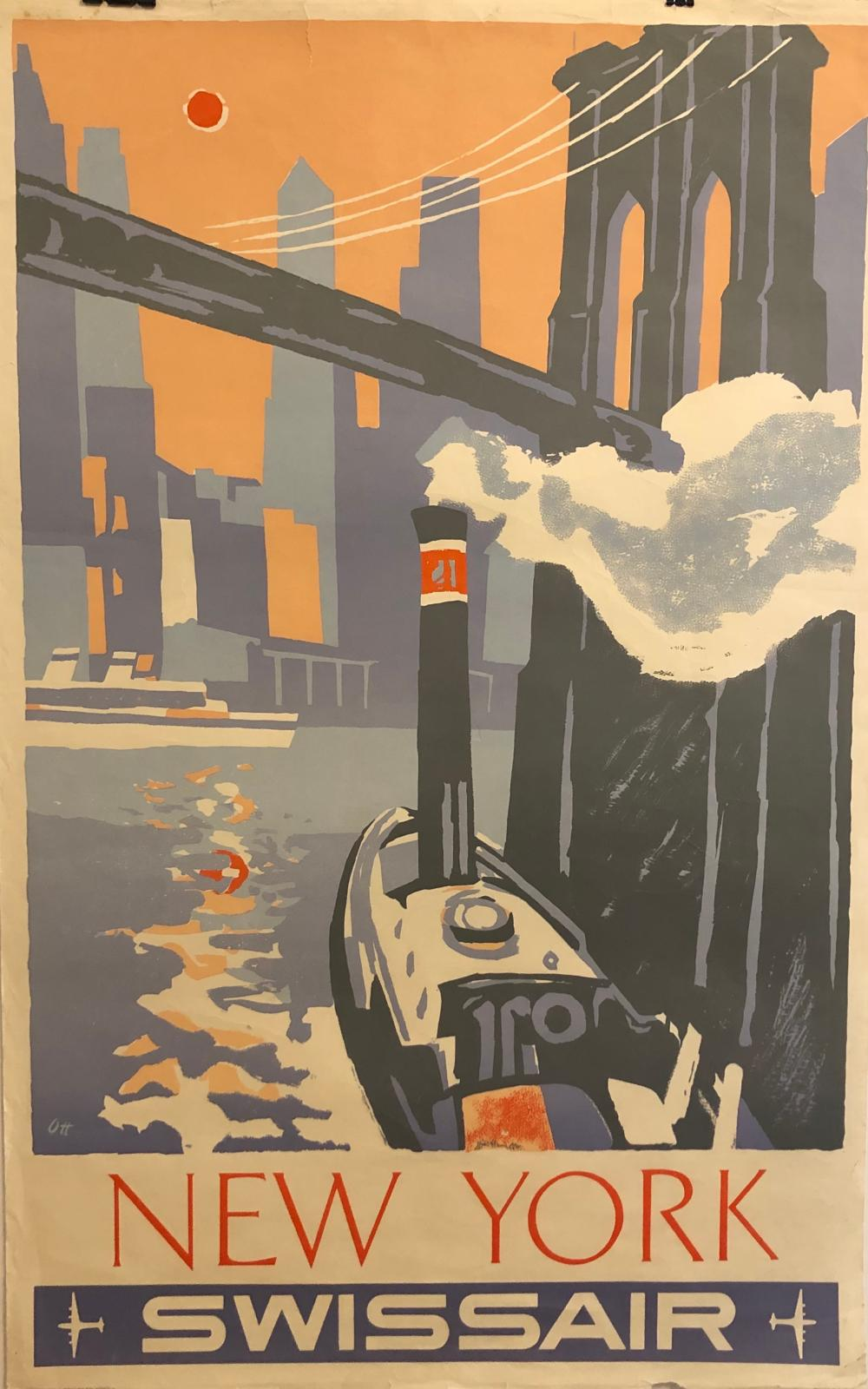Swissair NYC original Vintage poster by Henry Ott