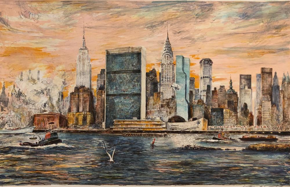 "Kamil  Kubik "" East River ""  New York Skyline s/n"