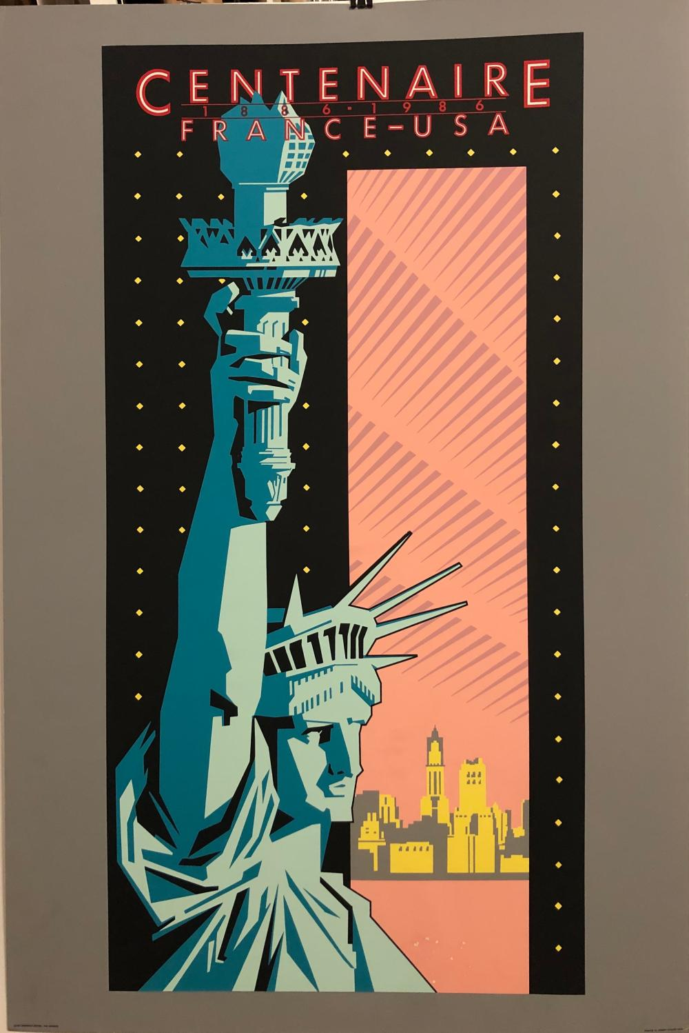 Centenaire  France -USA 1886 1986 Silkscreen