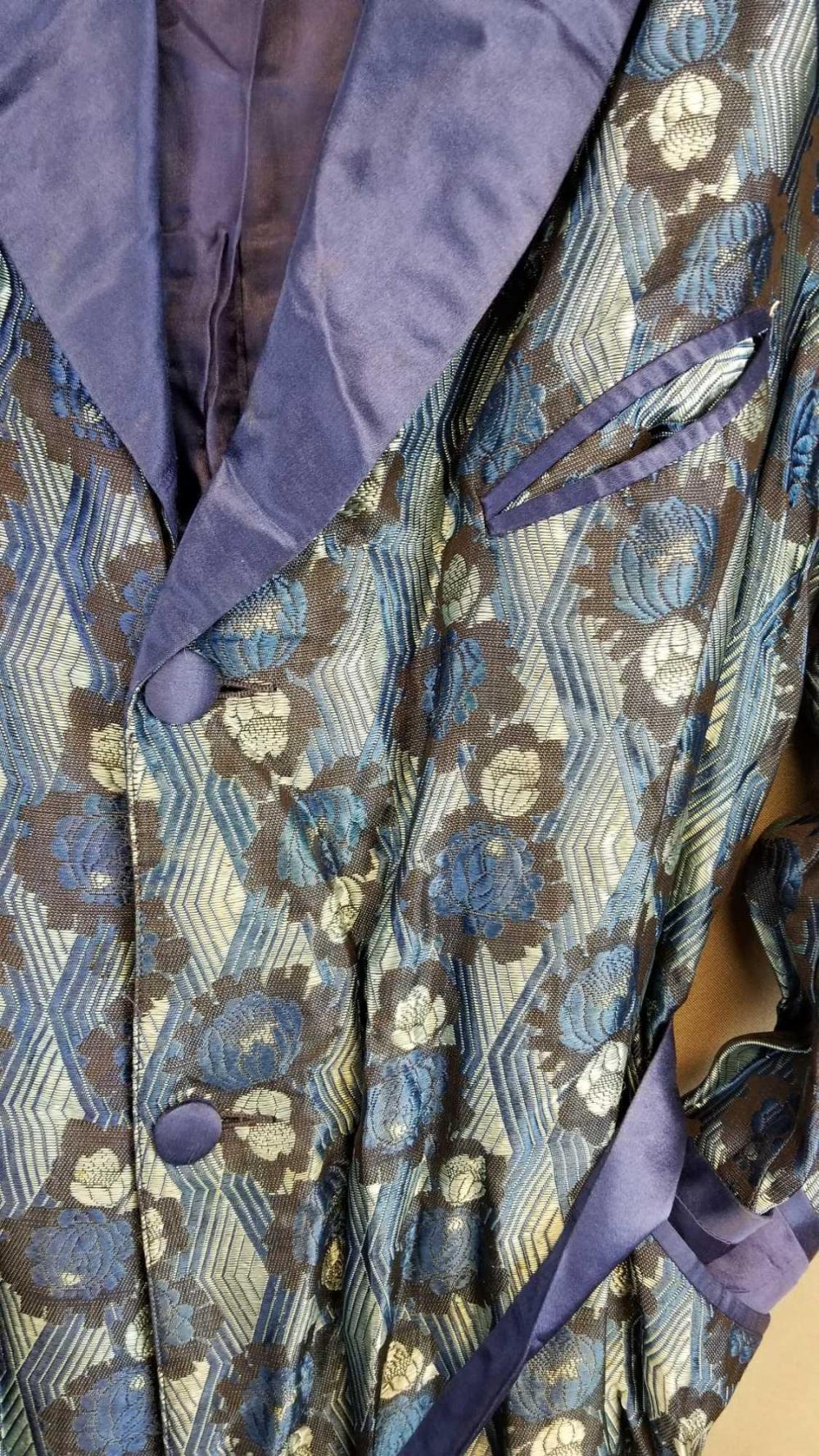Sold Price Vintage Blue Smoking Jacket Robe January 6 0121 9 30 Am Cst