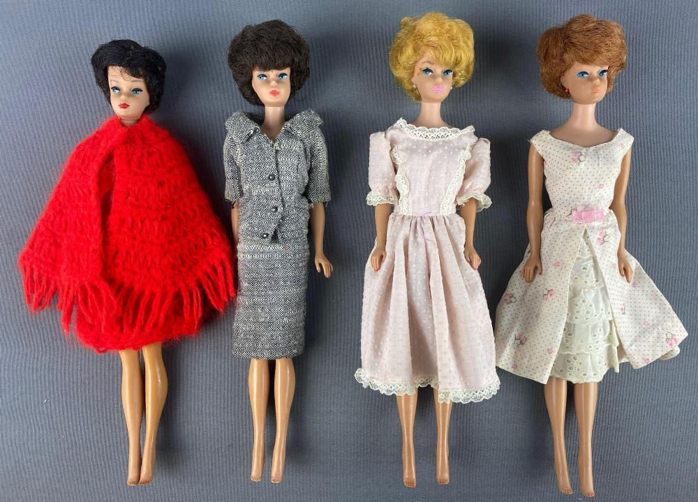 Group of 4 assorted Bubble Cut Barbie Fashion Dolls