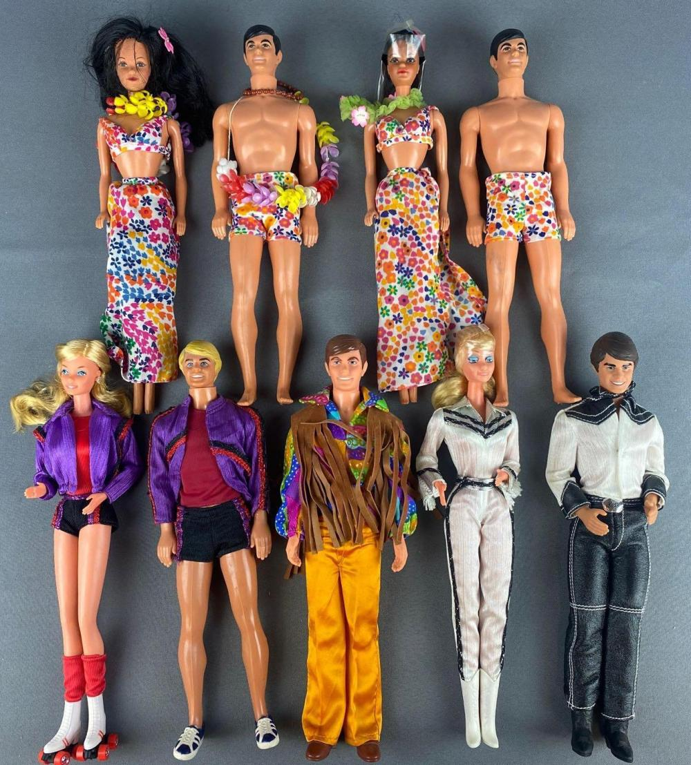 9 piece group assorted Barbie Fashion Dolls