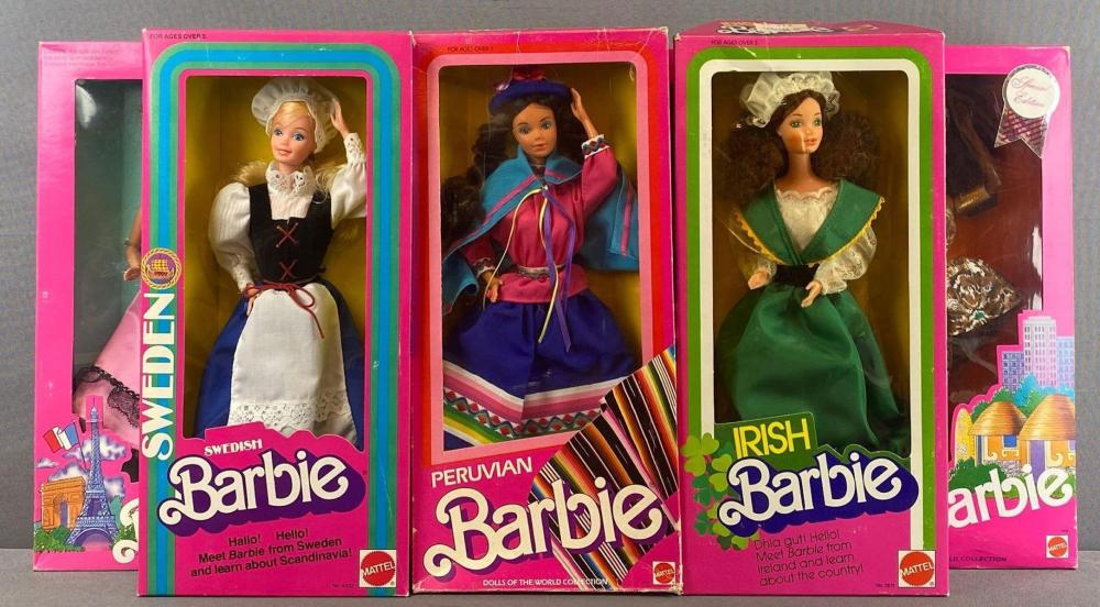 Group of 7 Barbie Dolls of the World Collection Fashion Dolls