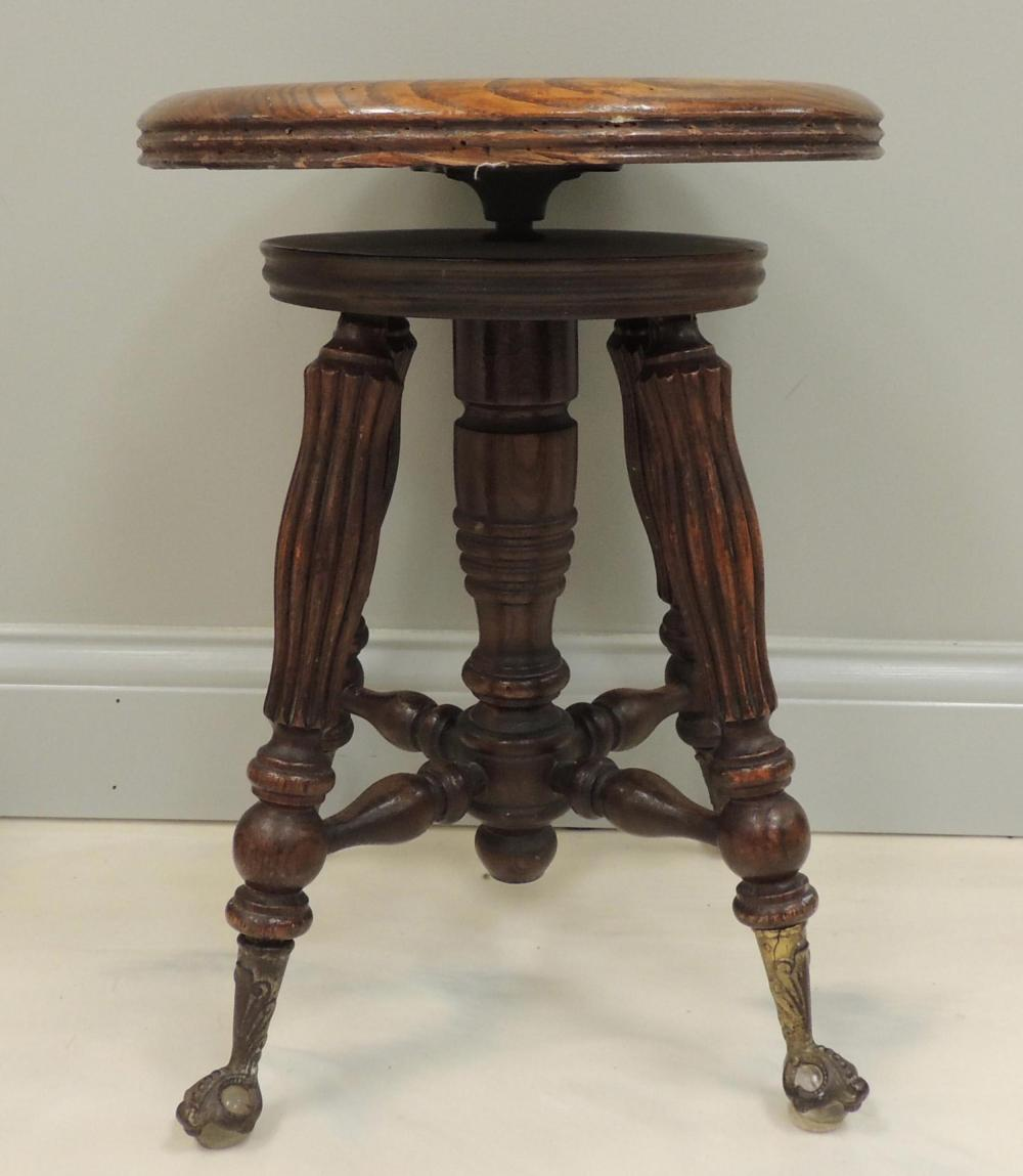 Marvelous Antique Oak Piano Stool With Ball And Claw Feet Gamerscity Chair Design For Home Gamerscityorg