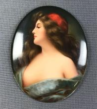 """Antique """"Thalimaier Studio"""" Porcelain Plaque of a Woman - in the style of Angelo Asti"""