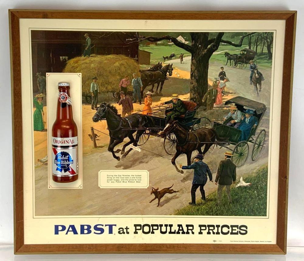 Vintage Pabst Blue Ribbon Advertising Horse Racing Beer Sign