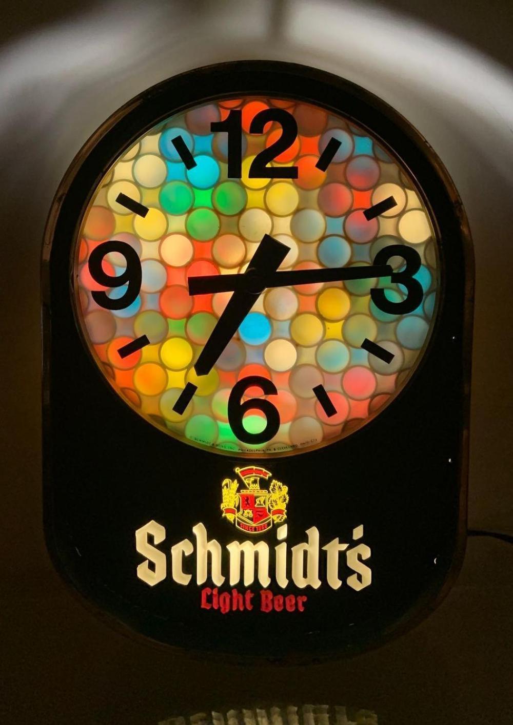 Schmidts Light Beer Light Up Advertising Motion Clock Sign
