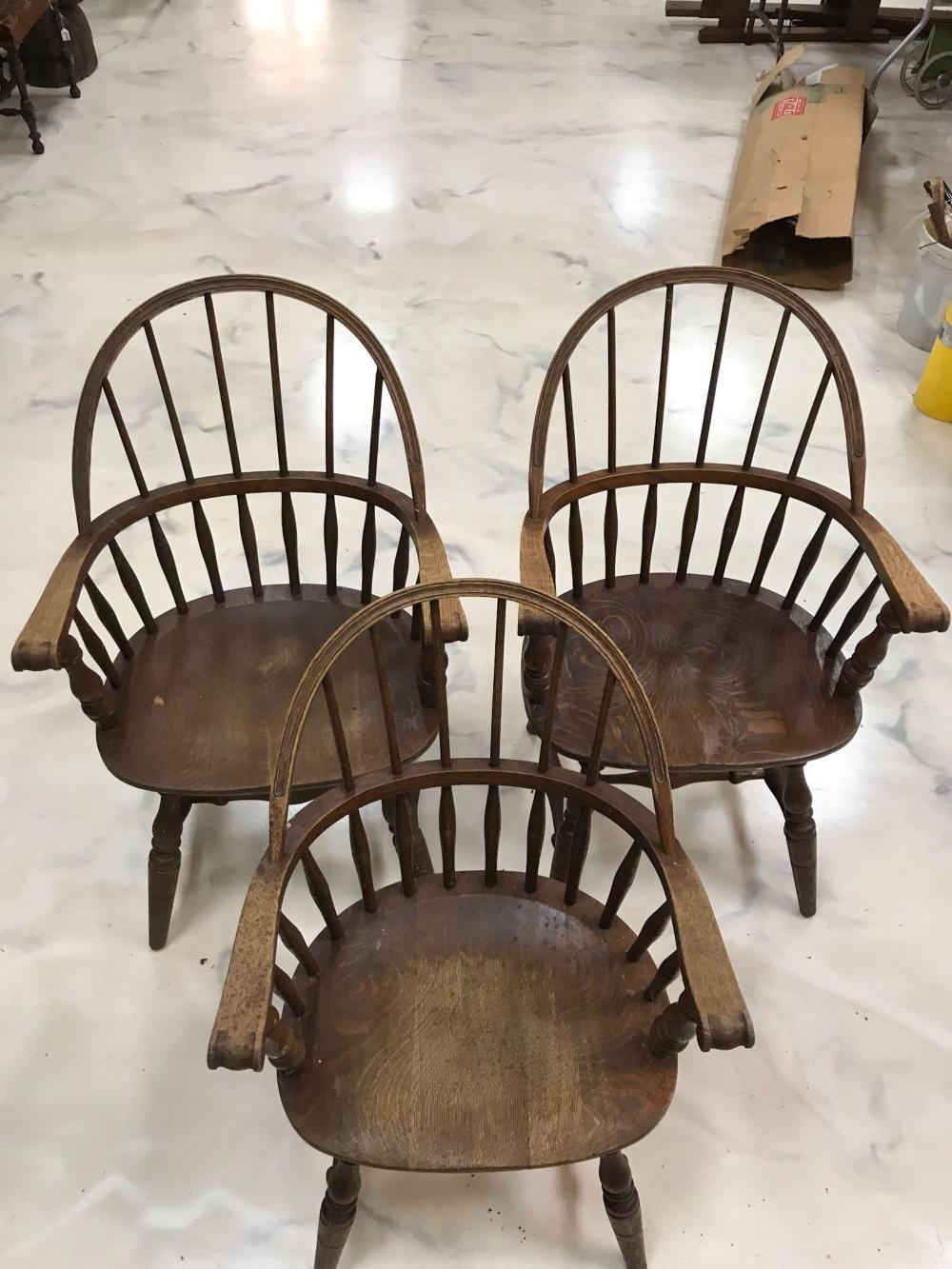 Group of 3 antique wooden round back chairs