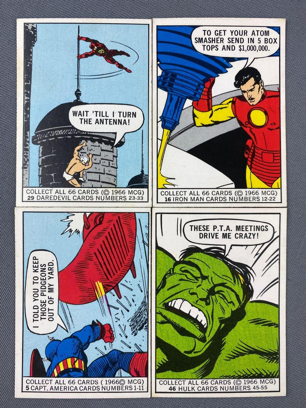 Group of 10 1966 Marvel Super Heroes Trading Cards