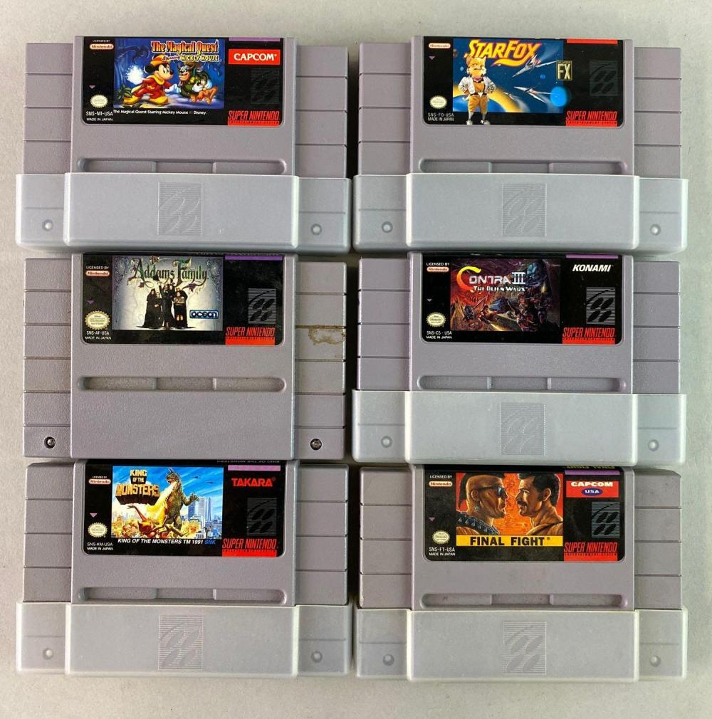 Group of 6 SNES Game Cartridges