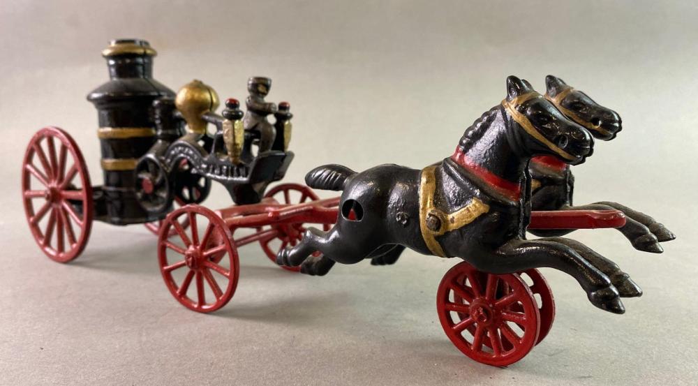 Antique Adrian Cast Iron Horse Drawn Fire Pumper