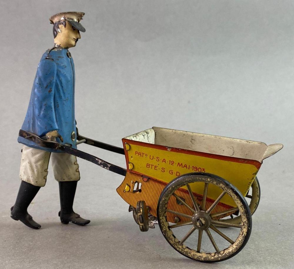 Lehmann Tap Tap Cart Wind Up Tin Toy