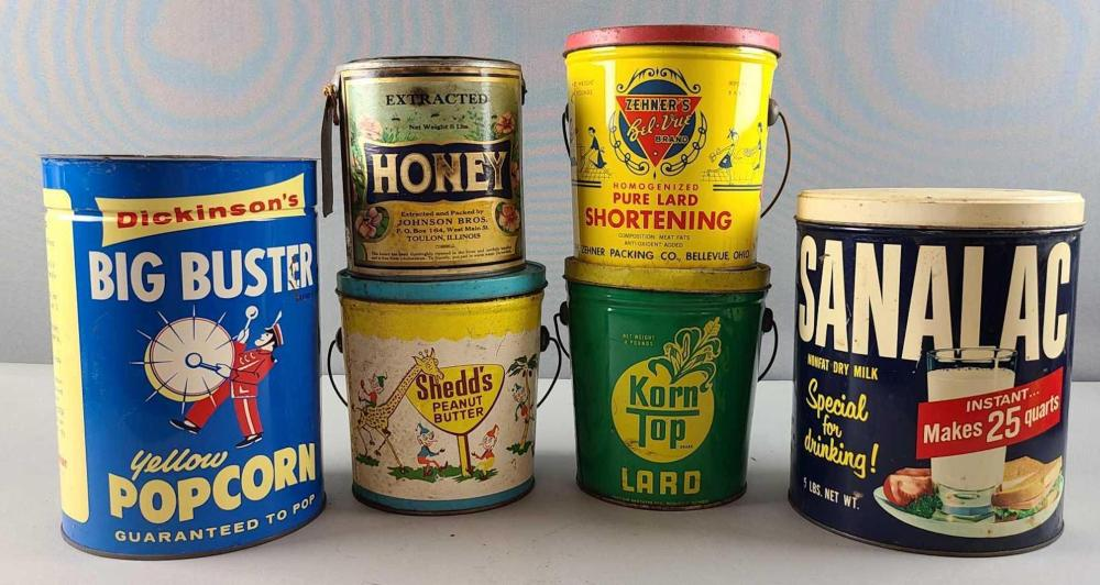 Group of 6 food tins/cans