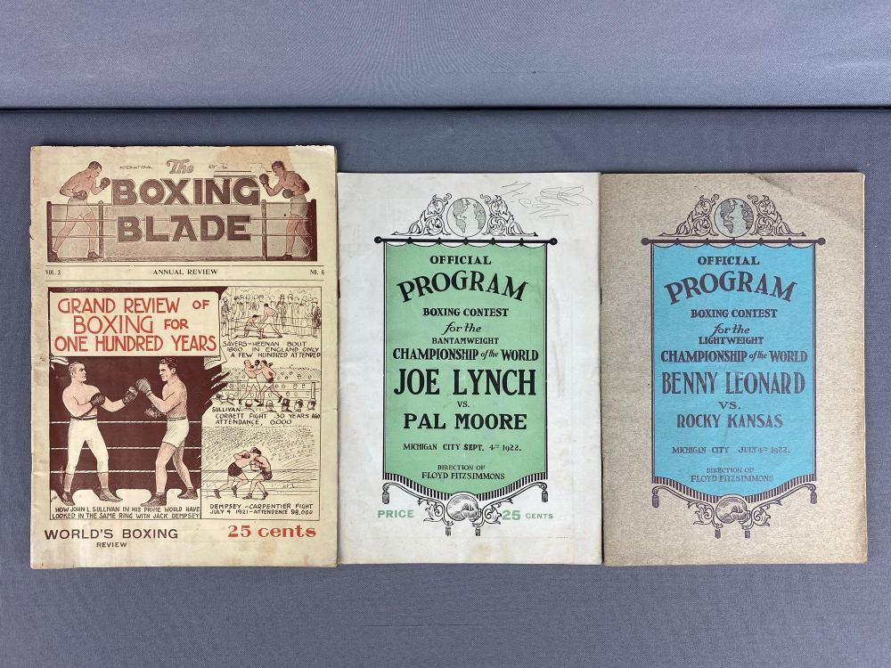 Group of 3 1922 Boxing Programs, Magazine
