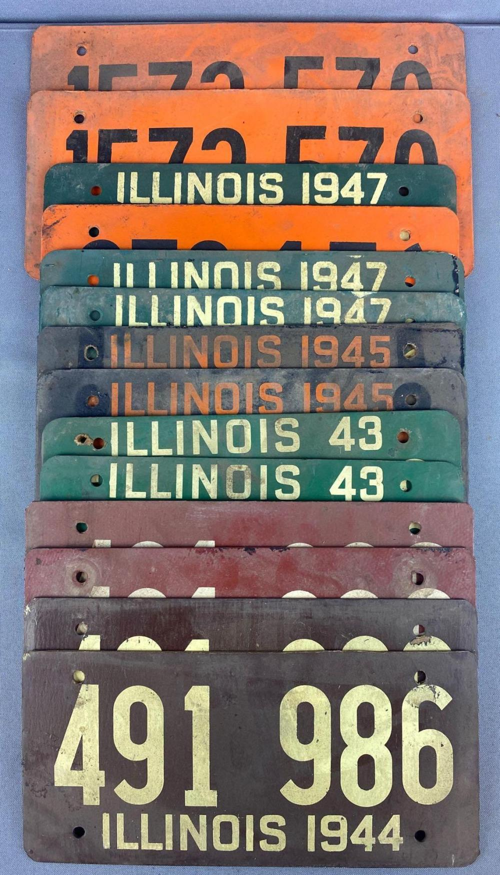 Group of 14 1940s Soybean Fiberboard Illinois license plates