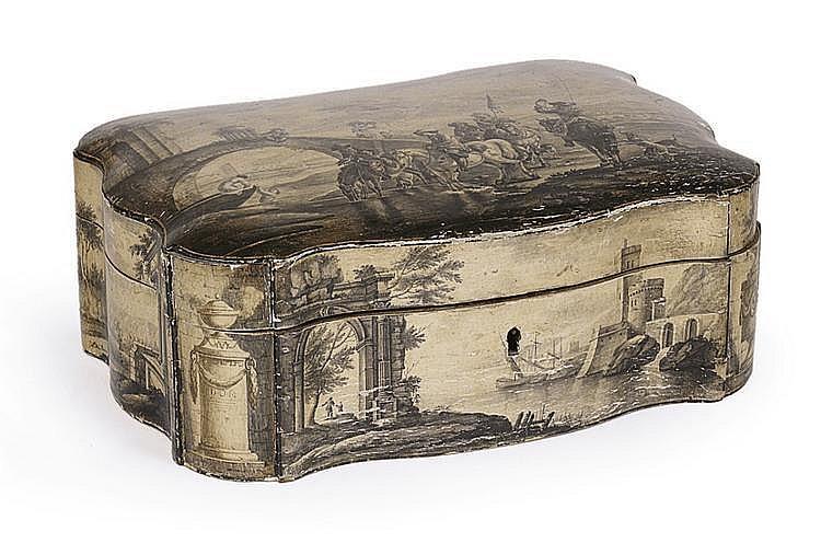 A BELGIAN GRISAILLE PAINTED BOX 'BOIS DE SPA', ANTOINE LE LOUP (1730-1802), SPA, MID 18TH CENTURY