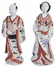 TWO JAPANESE ARITA PORCELAIN FIGURES OF A MAN AND A WOMAN, EDO PERIOD, LATE 17TH CENTURY