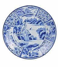 A JAPANESE ARITA BLUE AND WHITE CHARGER, EDO PERIOD, 18TH CENTURY