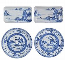 A PAIR OF JAPANESE KAKIEMON STYLE BLUE AND WHITE DISHES, EDO PERIOD, 18TH CENTURY