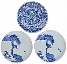 A PAIR OF JAPANESE BLUE AND WHITE SAUCER DISHES, EDO PERIOD, 18TH CENTURY