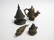 FOUR MISCELLANEOUS BRONZE CONTAINERS, 19TH CENTURY