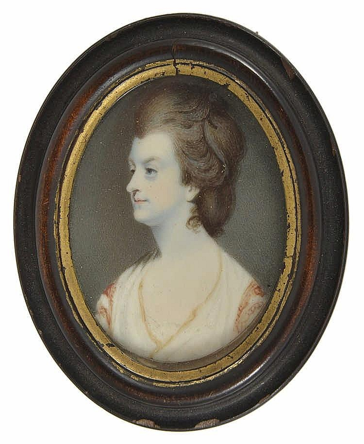 A PORTRAIT MINIATURE OF A LADY, BY JOSEPH SAUNDERS (FL. 1772-1811), CIRCA 1780