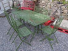 Green Painted Metal Garden Table with Centre