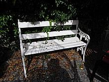 Garden Bench with Cast Iron Ends and Wooden Seat