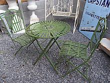 Circular Green Painted Garden Table with Two